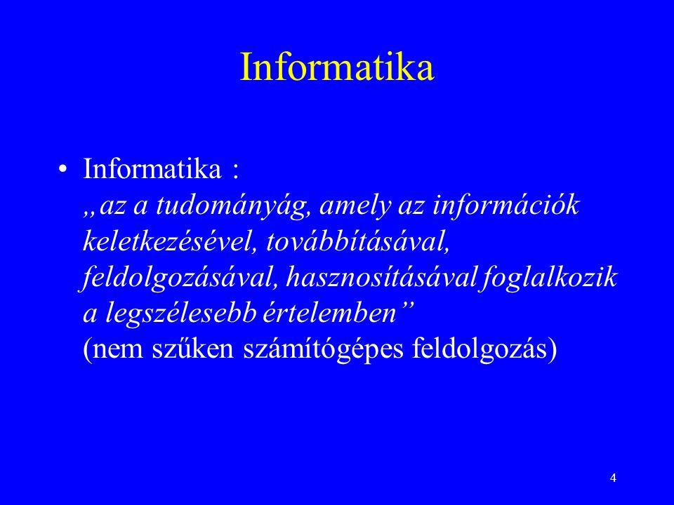 """4 Informatika Informatika : """"az a tudományág, amely az információk keletkezésével, továbbításával, feldolgozásával, hasznosításával foglalkozik a legs"""