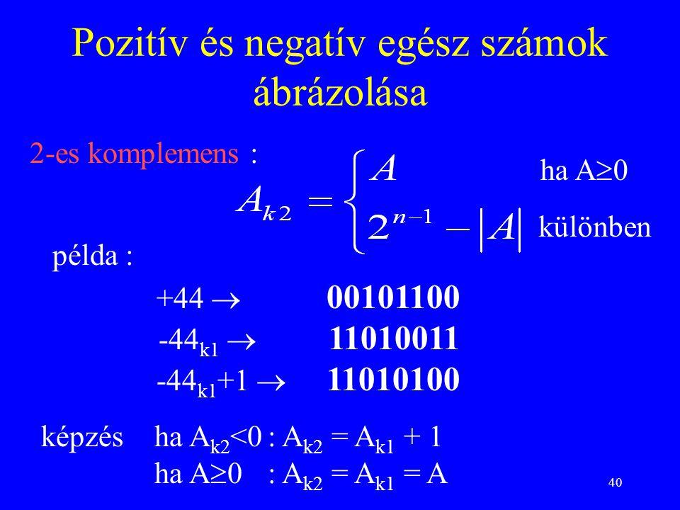40 2-es komplemens : Pozitív és negatív egész számok ábrázolása példa : képzésha A k2 <0: A k2 = A k1 + 1 ha A  0 : A k2 = A k1 = A ha A  0 különben