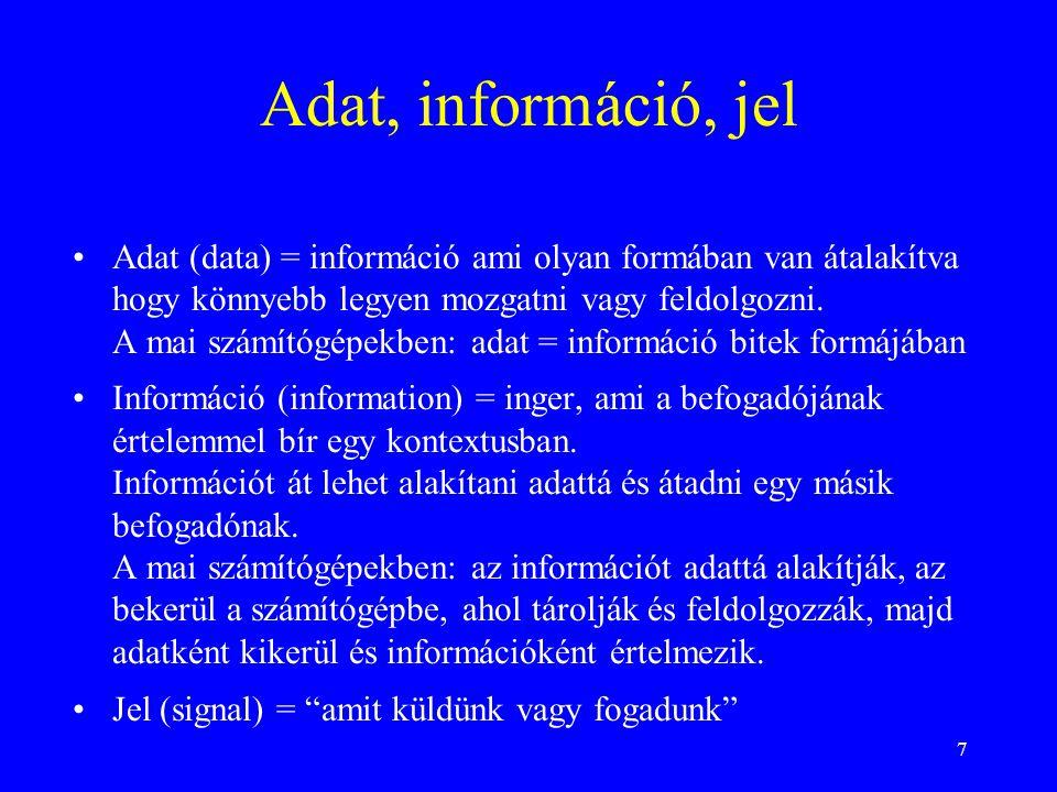 7 Adat, információ, jel Adat (data) = információ ami olyan formában van átalakítva hogy könnyebb legyen mozgatni vagy feldolgozni. A mai számítógépekb