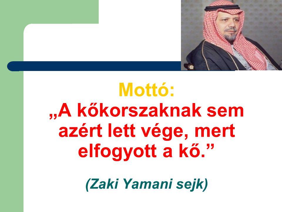 """Mottó: """"A kőkorszaknak sem azért lett vége, mert elfogyott a kő."""" (Zaki Yamani sejk)"""