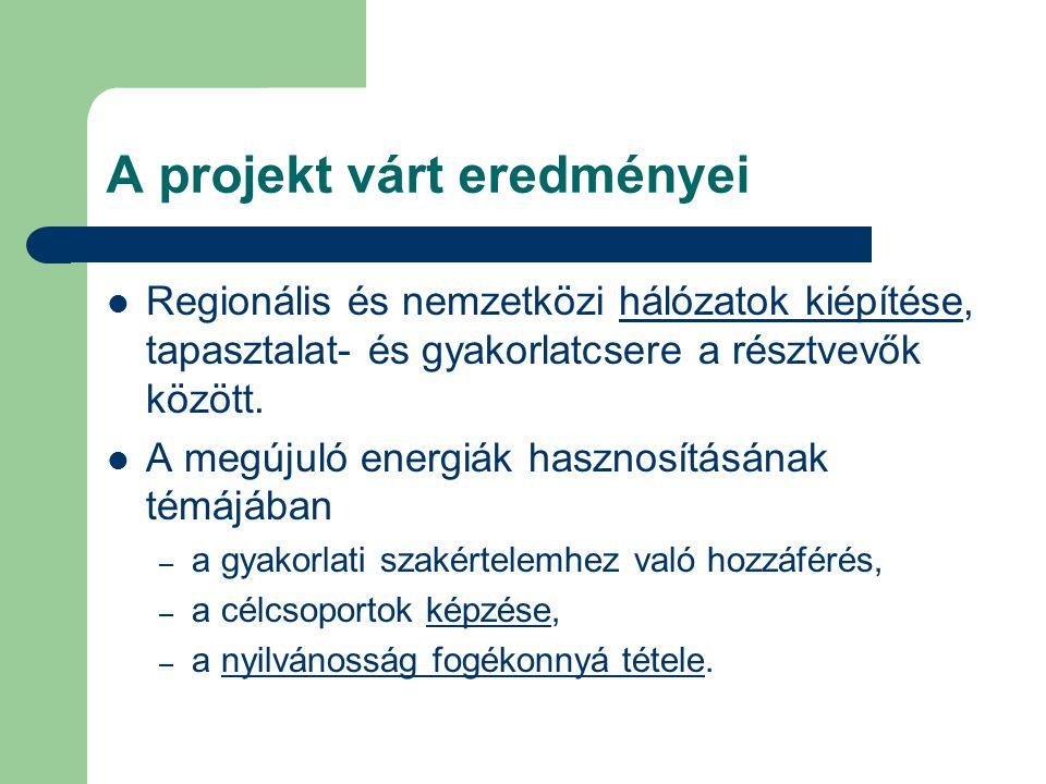 A projekt várt eredményei Regionális és nemzetközi hálózatok kiépítése, tapasztalat- és gyakorlatcsere a résztvevők között. A megújuló energiák haszno
