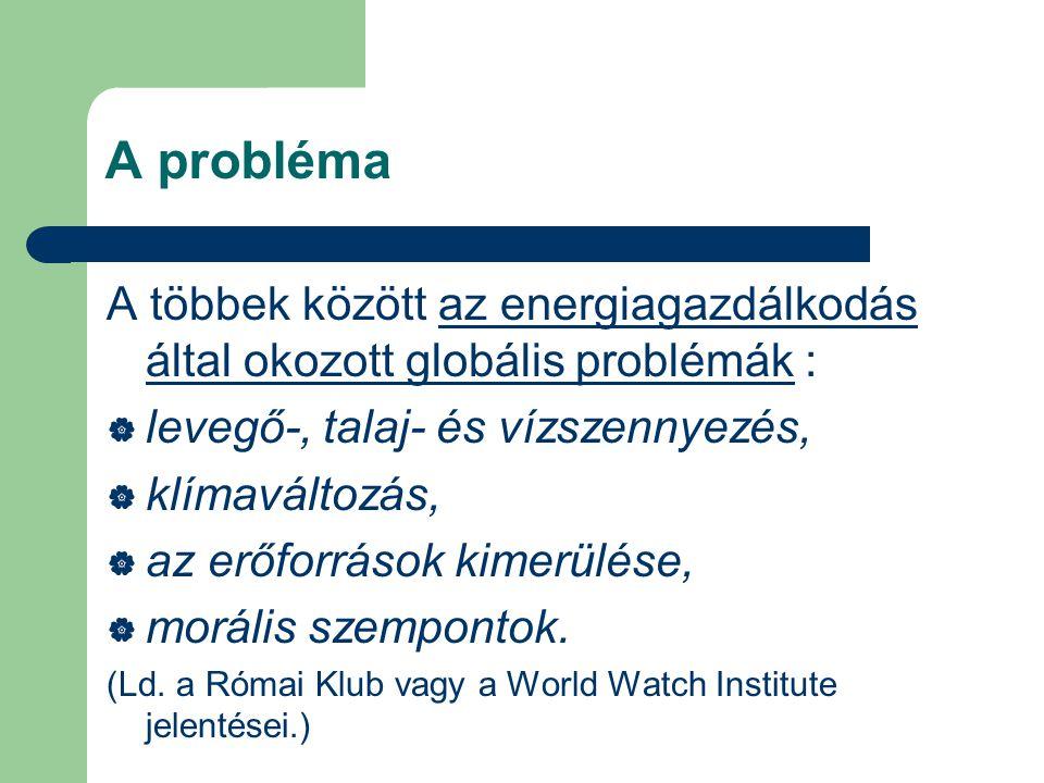 A probléma A többek között az energiagazdálkodás által okozott globális problémák :  levegő-, talaj- és vízszennyezés,  klímaváltozás,  az erőforrások kimerülése,  morális szempontok.