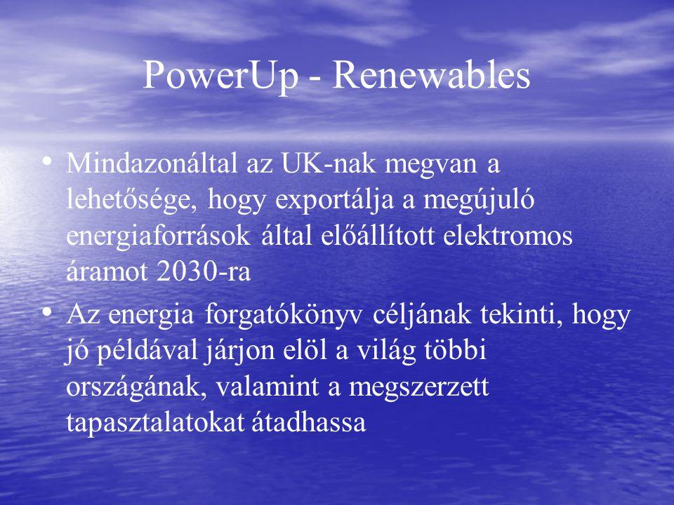 PowerUp - Renewables Mindazonáltal az UK-nak megvan a lehetősége, hogy exportálja a megújuló energiaforrások által előállított elektromos áramot 2030-ra Az energia forgatókönyv céljának tekinti, hogy jó példával járjon elöl a világ többi országának, valamint a megszerzett tapasztalatokat átadhassa