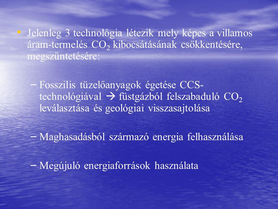 Jelenleg 3 technológia létezik mely képes a villamos áram-termelés CO 2 kibocsátásának csökkentésére, megszüntetésére: – – Fosszilis tüzelőanyagok égetése CCS- technológiával  füstgázból felszabaduló CO 2 leválasztása és geológiai visszasajtolása – – Maghasadásból származó energia felhasználása – – Megújuló energiaforrások használata