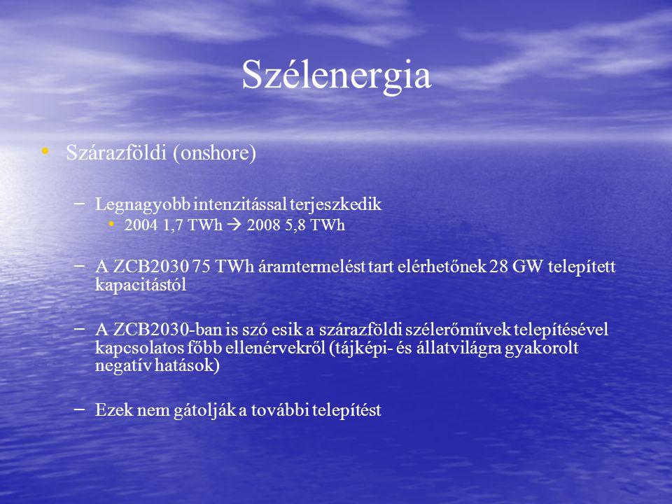 Szélenergia Szárazföldi (onshore) – – Legnagyobb intenzitással terjeszkedik 2004 1,7 TWh  2008 5,8 TWh – – A ZCB2030 75 TWh áramtermelést tart elérhetőnek 28 GW telepített kapacitástól – – A ZCB2030-ban is szó esik a szárazföldi szélerőművek telepítésével kapcsolatos főbb ellenérvekről (tájképi- és állatvilágra gyakorolt negatív hatások) – – Ezek nem gátolják a további telepítést