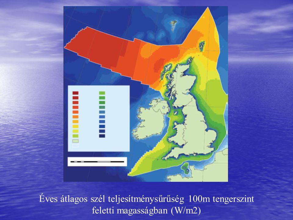Éves átlagos szél teljesítménysűrűség 100m tengerszint feletti magasságban (W/m2)