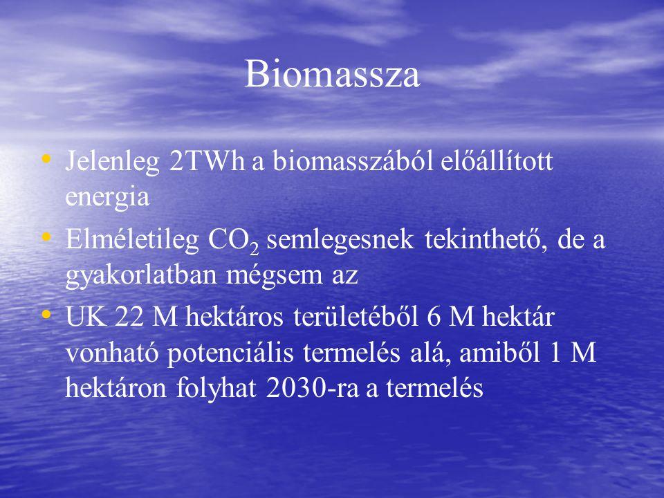 Biomassza Jelenleg 2TWh a biomasszából előállított energia Elméletileg CO 2 semlegesnek tekinthető, de a gyakorlatban mégsem az UK 22 M hektáros területéből 6 M hektár vonható potenciális termelés alá, amiből 1 M hektáron folyhat 2030-ra a termelés