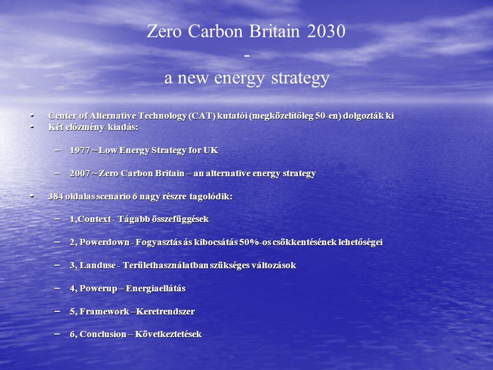 Zero Carbon Britain 2030 - a new energy strategy Center of Alternative Technology (CAT) kutatói (megközelítőleg 50-en) dolgozták ki Center of Alternative Technology (CAT) kutatói (megközelítőleg 50-en) dolgozták ki Két előzmény-kiadás: Két előzmény-kiadás: – 1977 ~ Low Energy Strategy for UK – 2007 ~ Zero Carbon Britain – an alternative energy strategy 384 oldalas scenario 6 nagy részre tagolódik: 384 oldalas scenario 6 nagy részre tagolódik: – 1,Context - Tágabb összefüggések – 2, Powerdown - Fogyasztás ás kibocsátás 50%-os csökkentésének lehetőségei – 3, Landuse - Területhasználatban szükséges változások – 4, Powerup – Energiaellátás – 5, Framework –Keretrendszer – 6, Conclusion – Következtetések