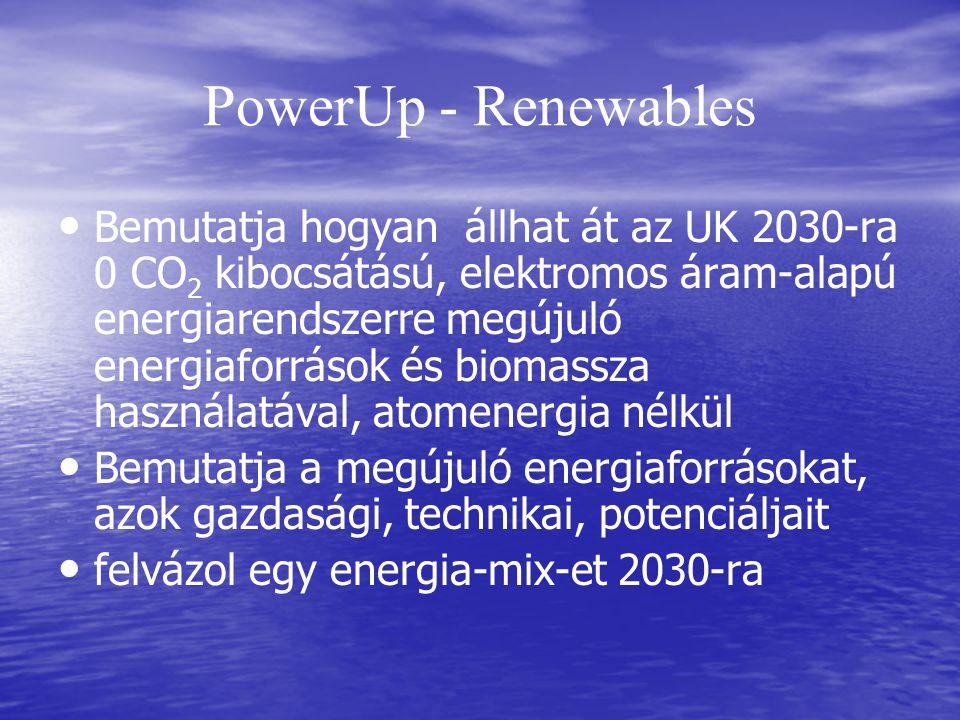 PowerUp - Renewables Bemutatja hogyan állhat át az UK 2030-ra 0 CO 2 kibocsátású, elektromos áram-alapú energiarendszerre megújuló energiaforrások és biomassza használatával, atomenergia nélkül Bemutatja a megújuló energiaforrásokat, azok gazdasági, technikai, potenciáljait felvázol egy energia-mix-et 2030-ra