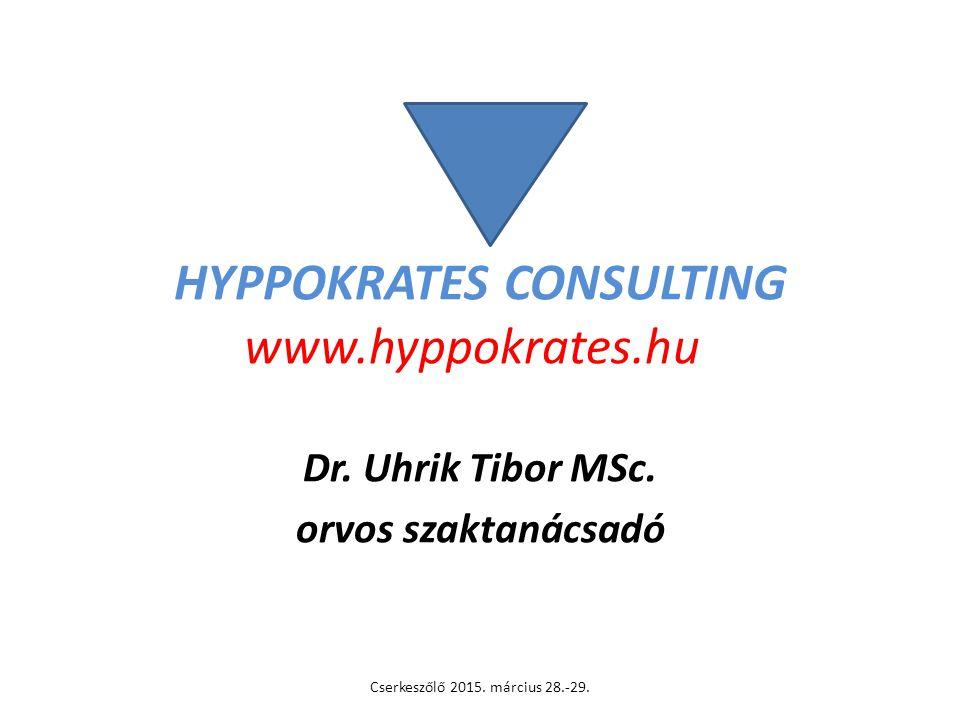 HYPPOKRATES CONSULTING www.hyppokrates.hu Dr. Uhrik Tibor MSc. orvos szaktanácsadó Cserkeszőlő 2015. március 28.-29.
