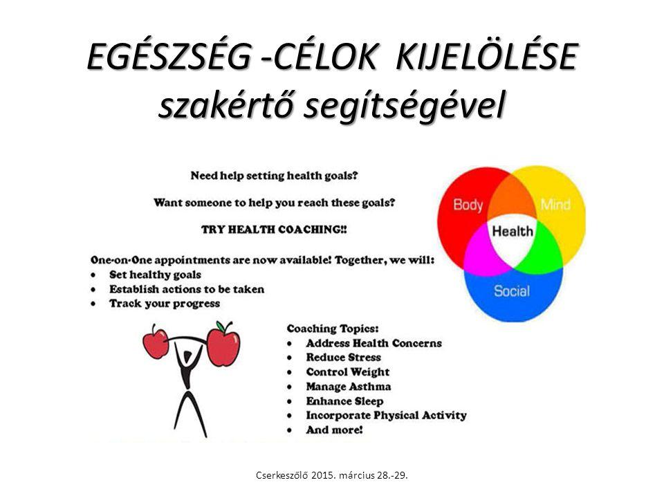 EGÉSZSÉG -CÉLOK KIJELÖLÉSE szakértő segítségével Cserkeszőlő 2015. március 28.-29.