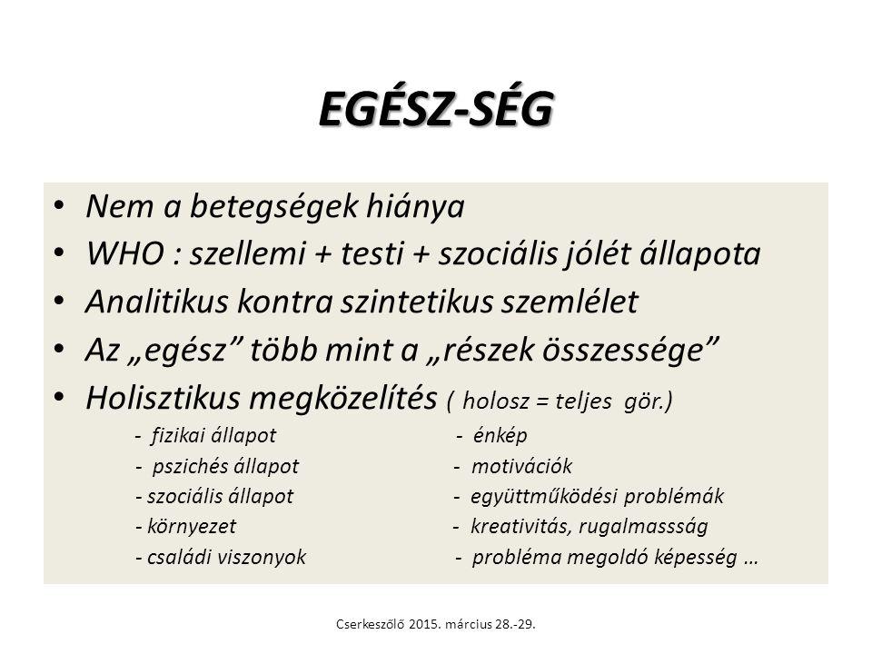 JÓ LÉT SZELLEMI TESTI SZOCIÁLIS Cserkeszőlő 2015. március 28.-29.