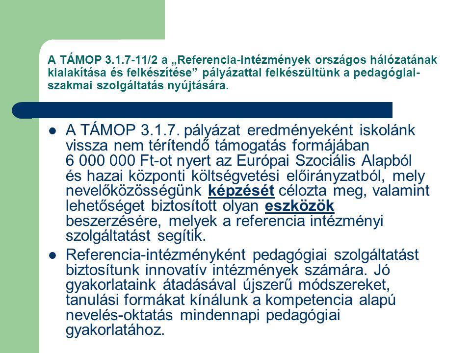 """A TÁMOP 3.1.7-11/2 a """"Referencia-intézmények országos hálózatának kialakítása és felkészítése pályázattal felkészültünk a pedagógiai- szakmai szolgáltatás nyújtására."""