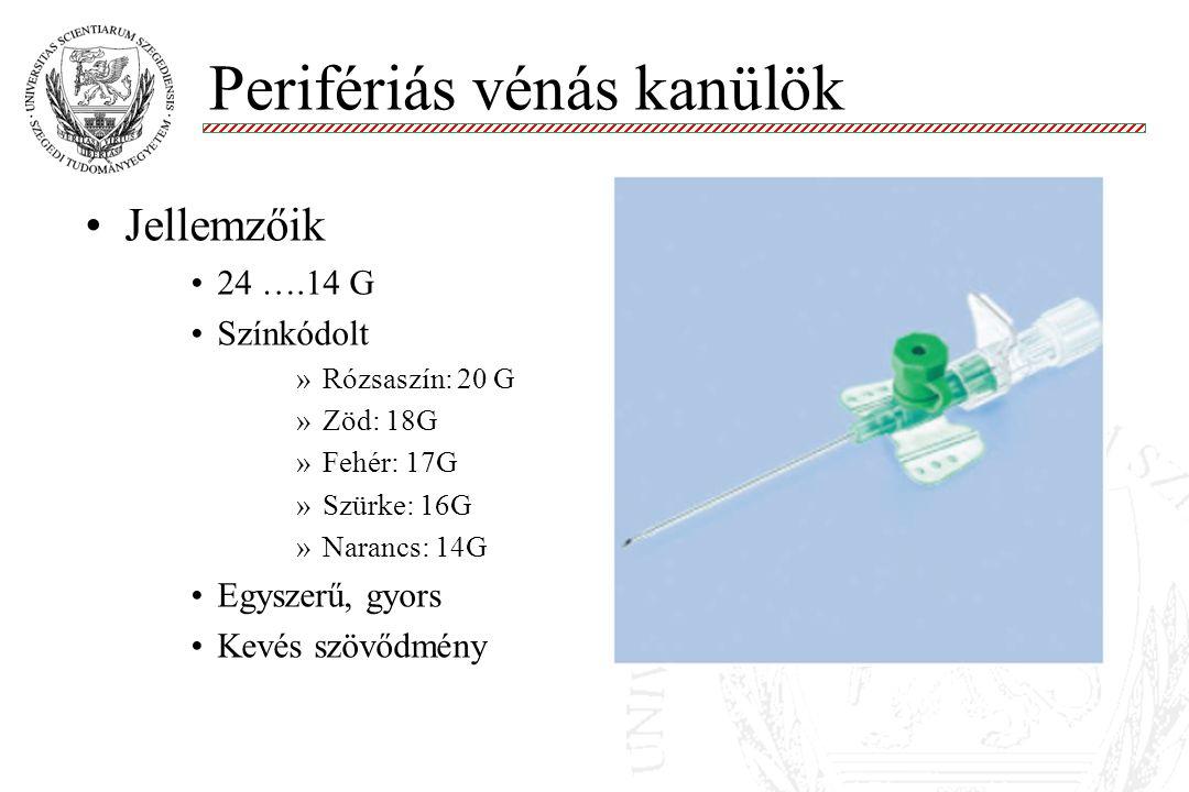 Perifériás vénás kanülök Molnár '99 Jellemzőik 24 ….14 G Színkódolt »Rózsaszín: 20 G »Zöd: 18G »Fehér: 17G »Szürke: 16G »Narancs: 14G Egyszerű, gyors