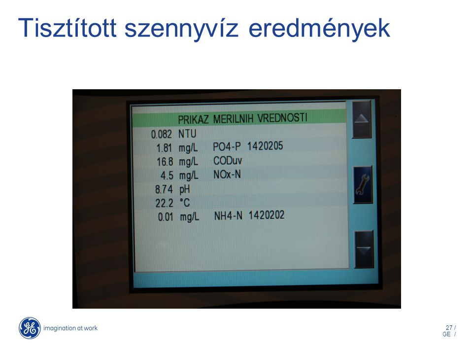27 / GE / Tisztított szennyvíz eredmények