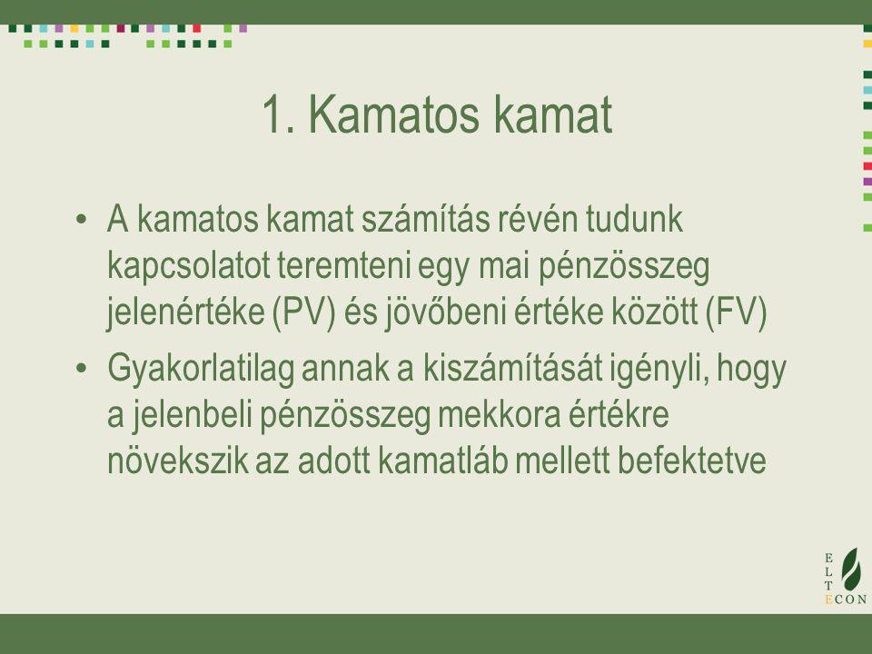 1. Kamatos kamat A kamatos kamat számítás révén tudunk kapcsolatot teremteni egy mai pénzösszeg jelenértéke (PV) és jövőbeni értéke között (FV) Gyakor