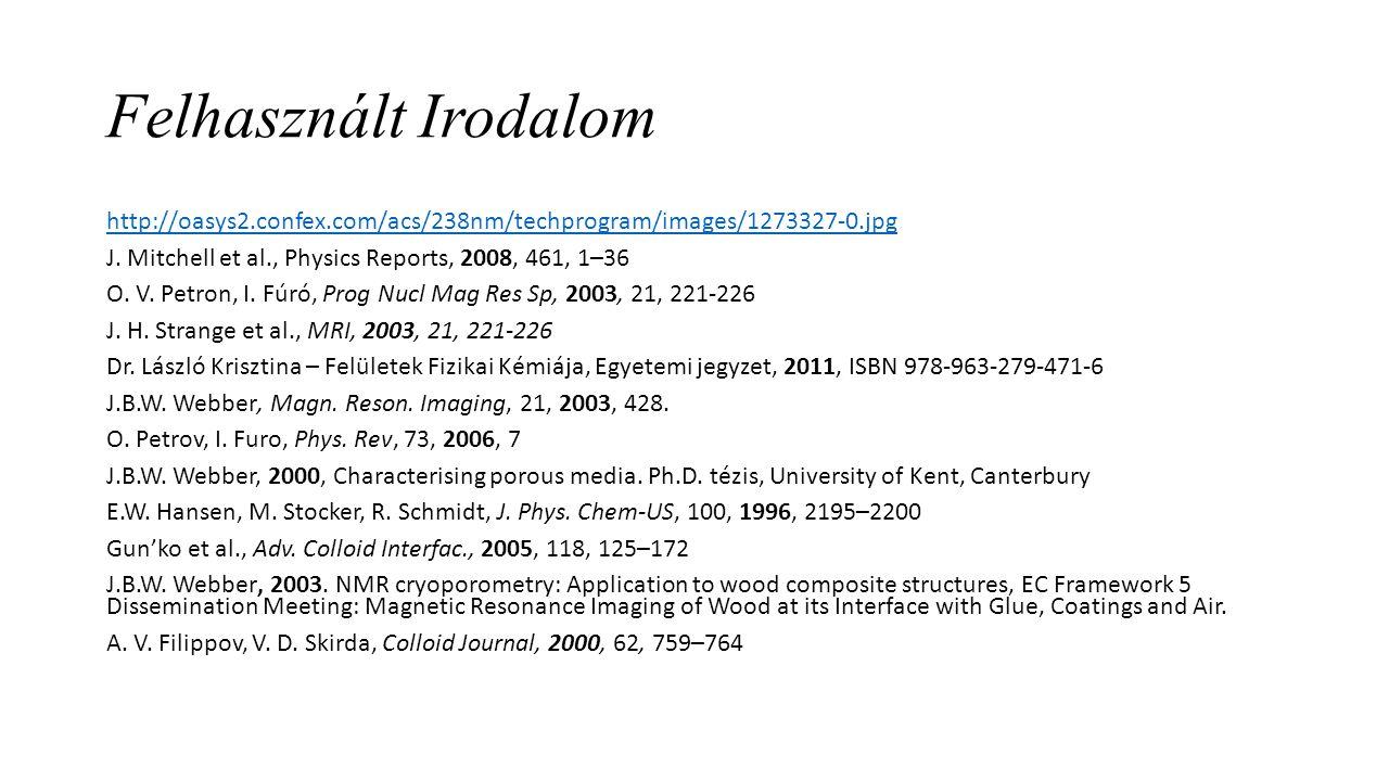 Felhasznált Irodalom http://oasys2.confex.com/acs/238nm/techprogram/images/1273327-0.jpg J. Mitchell et al., Physics Reports, 2008, 461, 1–36 O. V. Pe