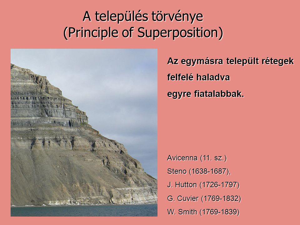 A település törvénye (Principle of Superposition) Az egymásra települt rétegek felfelé haladva egyre fiatalabbak. Avicenna (11. sz.) Steno (1638-1687)