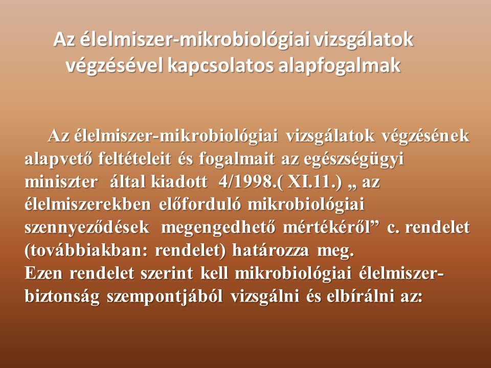 Az élelmiszer-mikrobiológiai vizsgálatok végzésével kapcsolatos alapfogalmak Az élelmiszer-mikrobiológiai vizsgálatok végzésének alapvető feltételeit