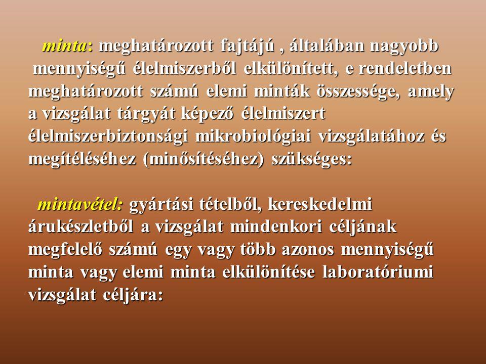 a) Mintavétel a) Mintavétel Az élelmiszer higiéniai laboratóriumi vizsgálatok (fizikai, kémiai és mikrobiológiai) elvégzések alapvető feltétele a szabvány előírásoknak megfelelően végrehajtott mintavétel.