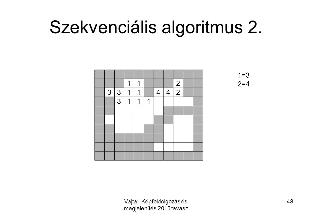 Vajta: Képfeldolgozás és megjelenítés 2015 tavasz 48 Szekvenciális algoritmus 2. 112 3311442 3111 1=3 2=4