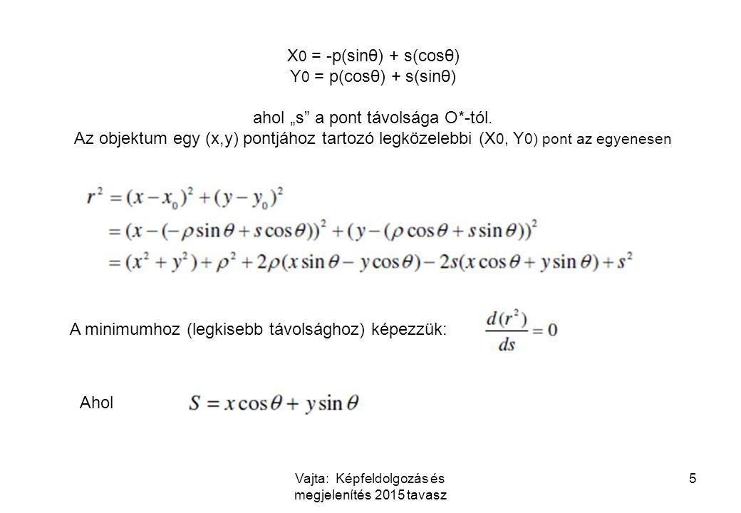 """Vajta: Képfeldolgozás és megjelenítés 2015 tavasz 5 X 0 = -p(sinθ) + s(cosθ) Y 0 = p(cosθ) + s(sinθ) ahol """"s"""" a pont távolsága O*-tól. Az objektum egy"""
