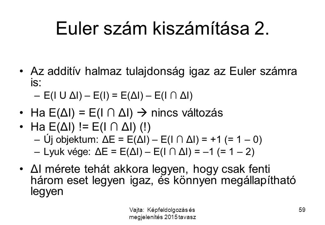 Vajta: Képfeldolgozás és megjelenítés 2015 tavasz 59 Euler szám kiszámítása 2. Az additív halmaz tulajdonság igaz az Euler számra is: –E(I U ΔI) – E(I