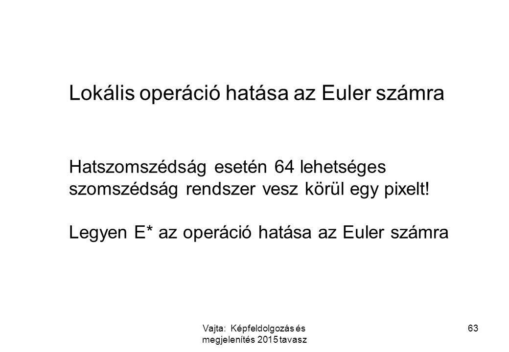 Vajta: Képfeldolgozás és megjelenítés 2015 tavasz 63 Lokális operáció hatása az Euler számra Hatszomszédság esetén 64 lehetséges szomszédság rendszer