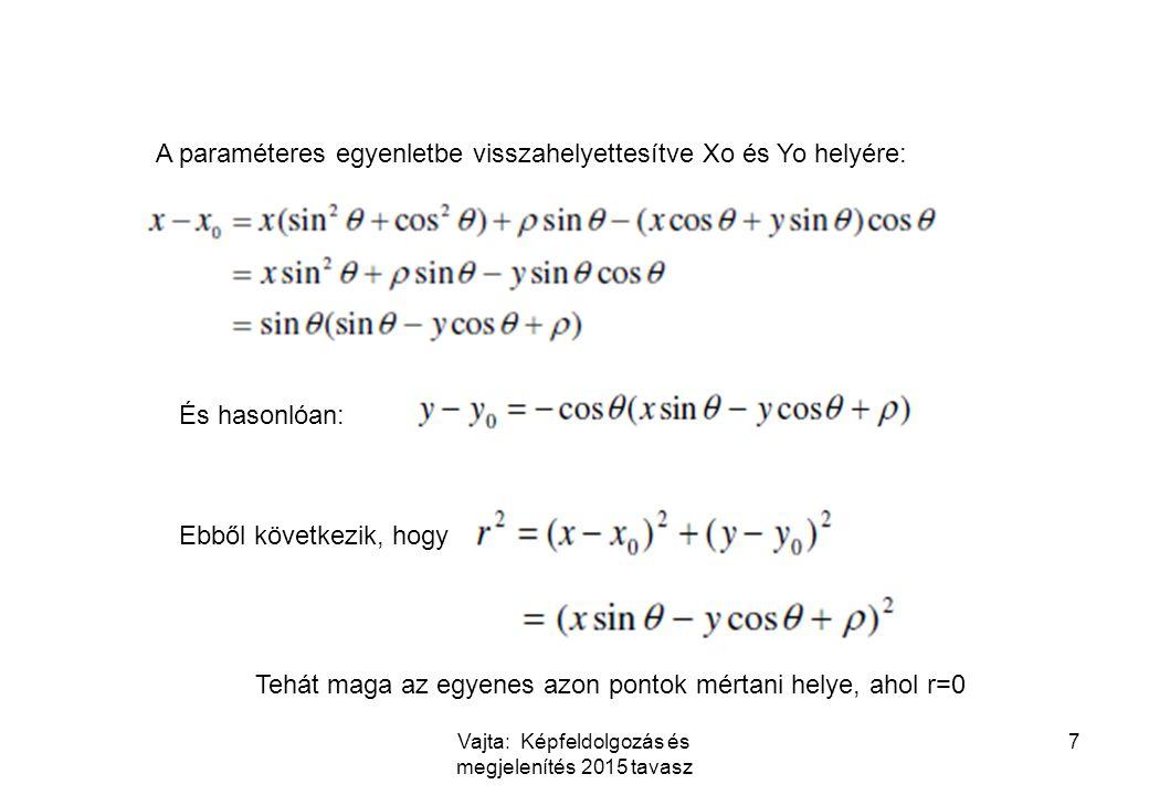 Vajta: Képfeldolgozás és megjelenítés 2015 tavasz 7 A paraméteres egyenletbe visszahelyettesítve Xo és Yo helyére: És hasonlóan: Ebből következik, hog