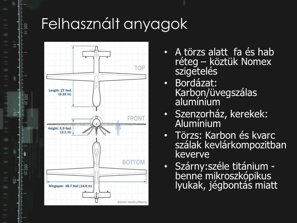 Felhasznált anyagok A törzs alatt fa és hab réteg – köztük Nomex szigetelés Bordázat: Karbon/üvegszálas alumínium Szenzorház, kerekek: Alumínium Törzs