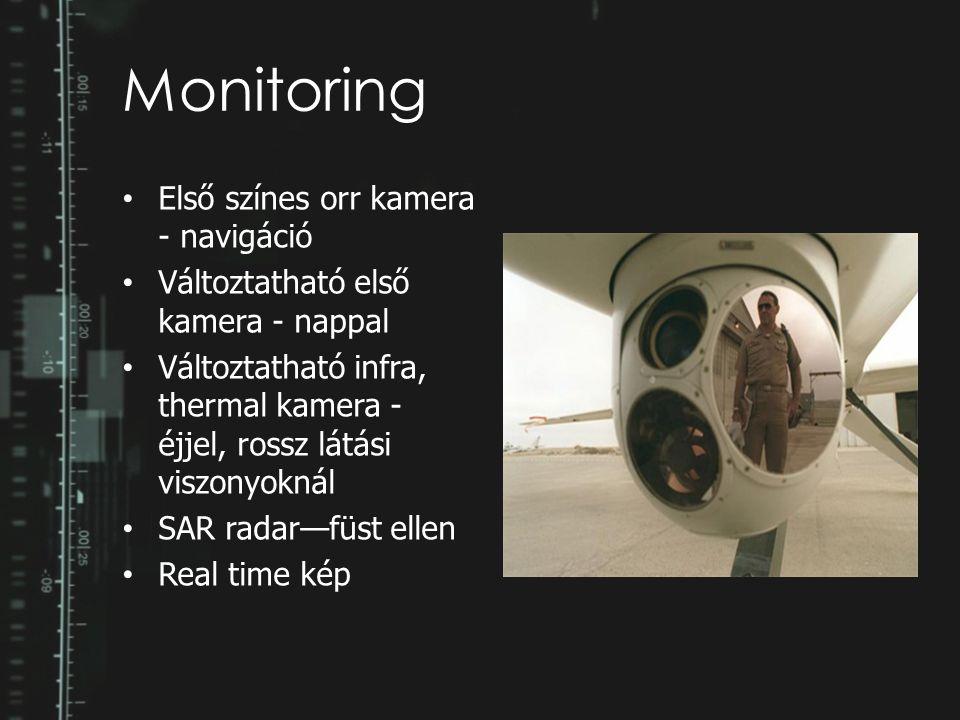 Monitoring Első színes orr kamera - navigáció Változtatható első kamera - nappal Változtatható infra, thermal kamera - éjjel, rossz látási viszonyokná