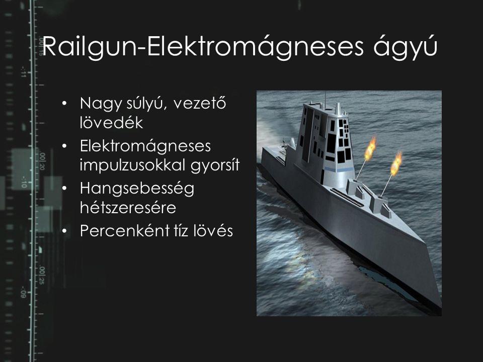 Railgun-Elektromágneses ágyú Nagy súlyú, vezető lövedék Elektromágneses impulzusokkal gyorsít Hangsebesség hétszeresére Percenként tíz lövés