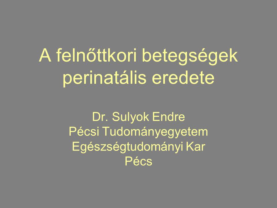 A felnőttkori betegségek perinatális eredete Dr. Sulyok Endre Pécsi Tudományegyetem Egészségtudományi Kar Pécs