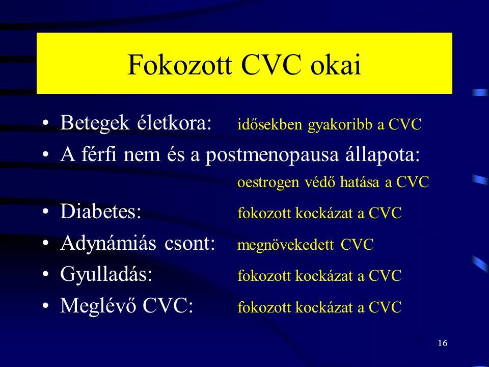 16 Fokozott CVC okai Betegek életkora: idősekben gyakoribb a CVC A férfi nem és a postmenopausa állapota: oestrogen védő hatása a CVC Diabetes: fokozo