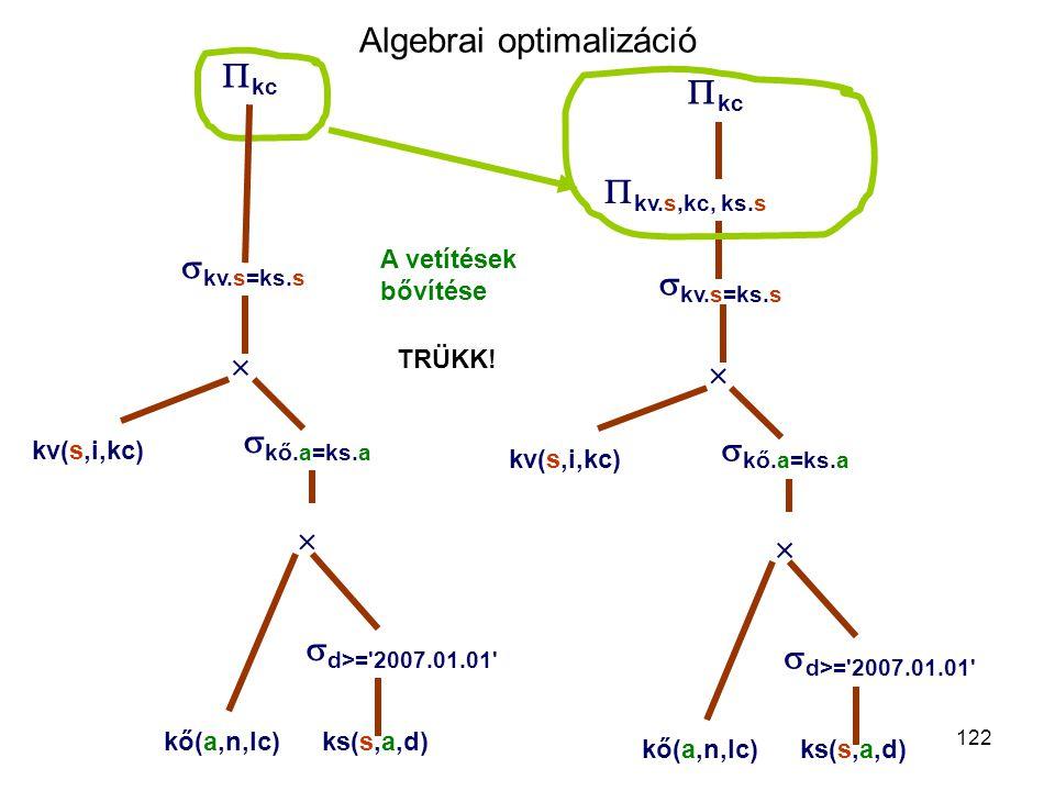 122 Algebrai optimalizáció  kc  kv.s,kc, ks.s  kv.s=ks.s    kő.a=ks.a kő(a,n,lc)ks(s,a,d) kv(s,i,kc) A vetítések bővítése  d>='2007.01.01'  kc