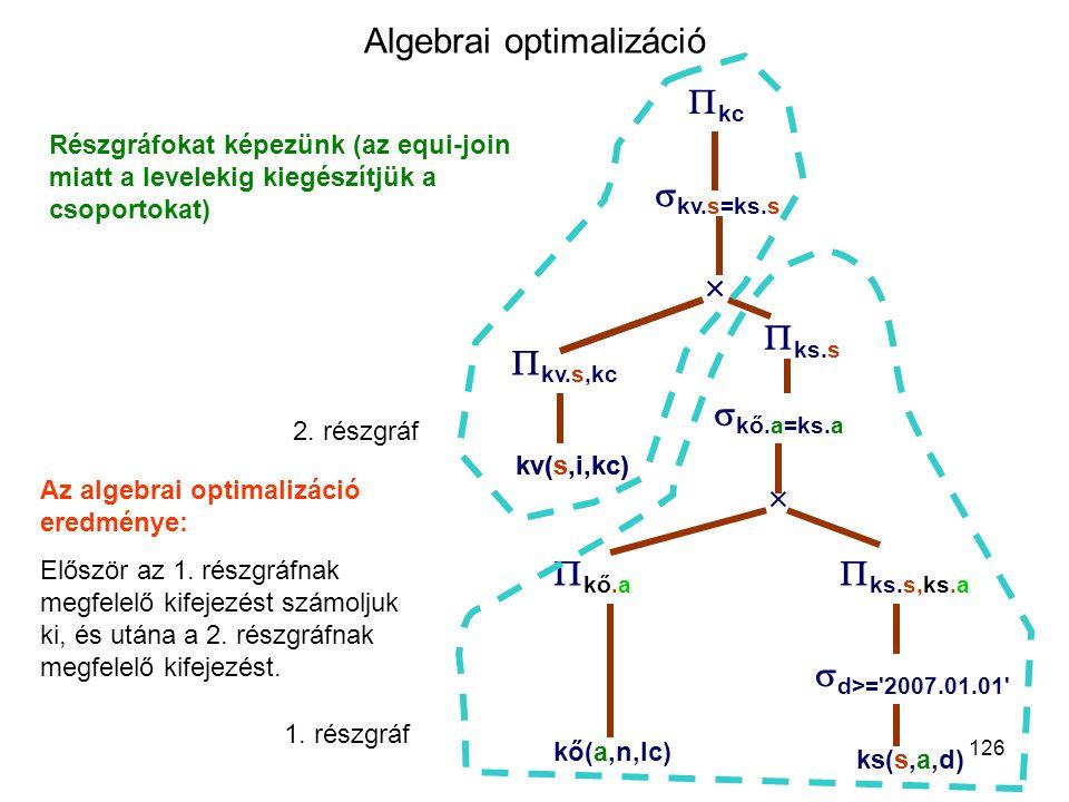 126 Algebrai optimalizáció Részgráfokat képezünk (az equi-join miatt a levelekig kiegészítjük a csoportokat)  kv.s=ks.s  kő(a,n,lc) kv(s,i,kc)   