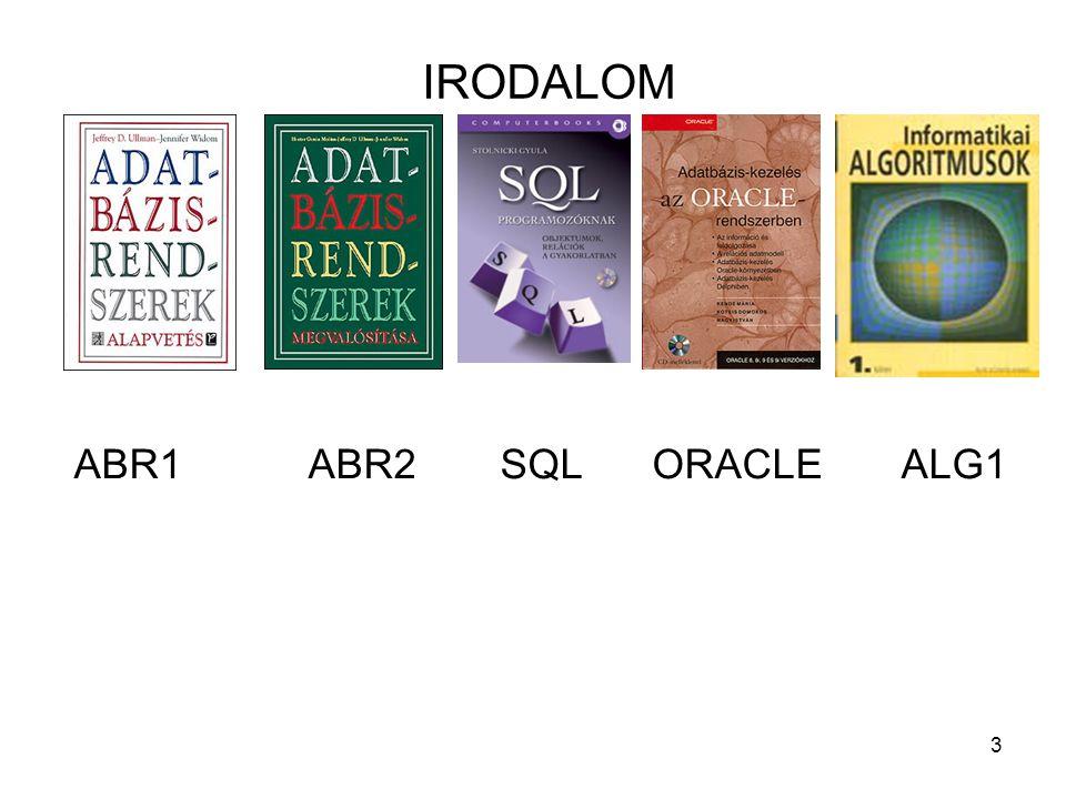 3 IRODALOM ABR1 ABR2SQL ORACLE ALG1