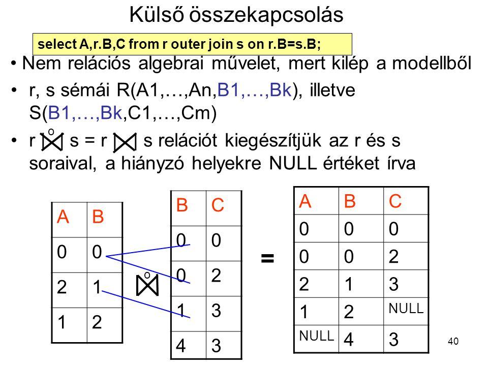 40 Külső összekapcsolás r, s sémái R(A1,…,An,B1,…,Bk), illetve S(B1,…,Bk,C1,…,Cm) r || s = r | | s relációt kiegészítjük az r és s soraival, a hiányzó