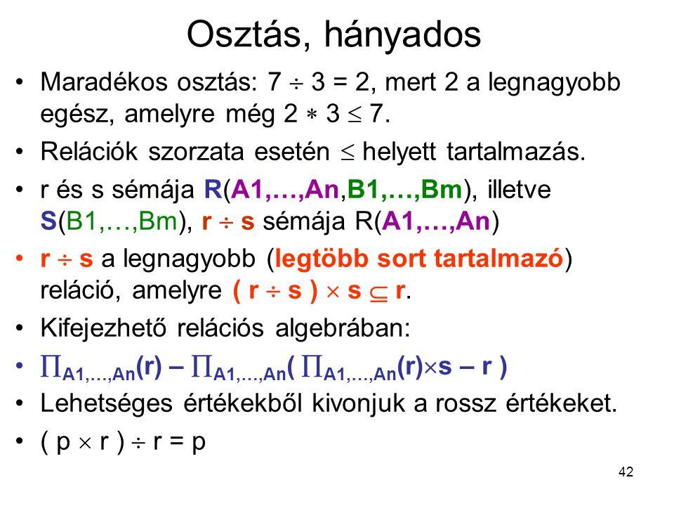 42 Osztás, hányados Maradékos osztás: 7  3 = 2, mert 2 a legnagyobb egész, amelyre még 2  3  7. Relációk szorzata esetén  helyett tartalmazás. r é