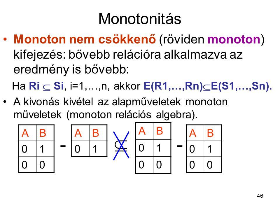 46 Monotonitás Monoton nem csökkenő (röviden monoton) kifejezés: bővebb relációra alkalmazva az eredmény is bővebb: Ha Ri  Si, i=1,…,n, akkor E(R1,…,