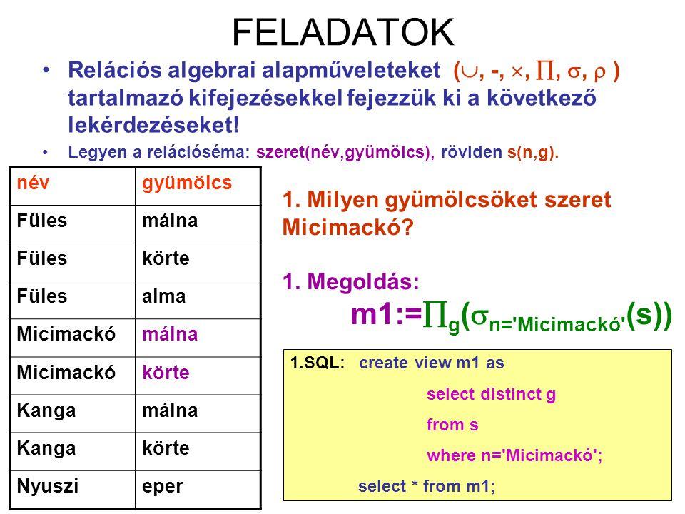 52 FELADATOK Relációs algebrai alapműveleteket( , -, , , ,  ) tartalmazó kifejezésekkel fejezzük ki a következő lekérdezéseket! Legyen a relációs