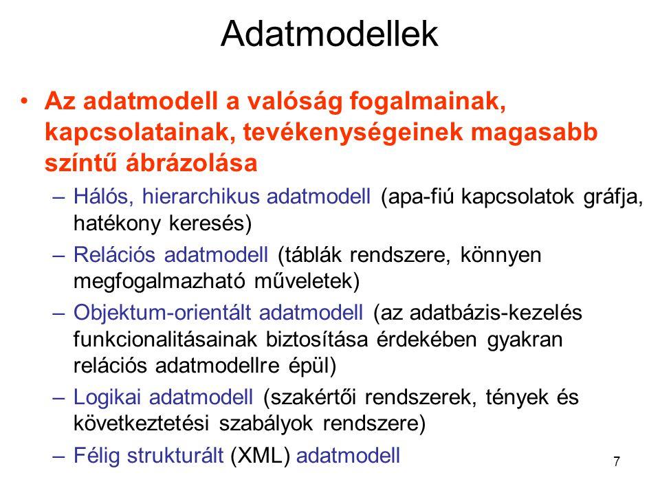 8 Adatbázis-kezelő nyelvek DDL – adatdefiniáló nyelv (sémák, adatstruktúrák megadása) DML – adatkezelő nyelv (beszúrás, törlés, módosítás) QL – lekérdező nyelv –Deklaratív (SQL, kalkulusok) –Procedurális (relációs algebra) PL/SQL – programozási szerkezetek + SQL Programozási nyelvbe ágyazás (előfordító használata) 4GL nyelvek (alkalmazások generálása)
