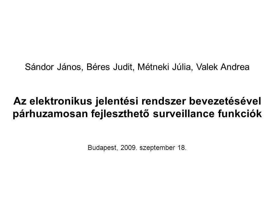 Sándor János, Béres Judit, Métneki Júlia, Valek Andrea Az elektronikus jelentési rendszer bevezetésével párhuzamosan fejleszthető surveillance funkciók Budapest, 2009.