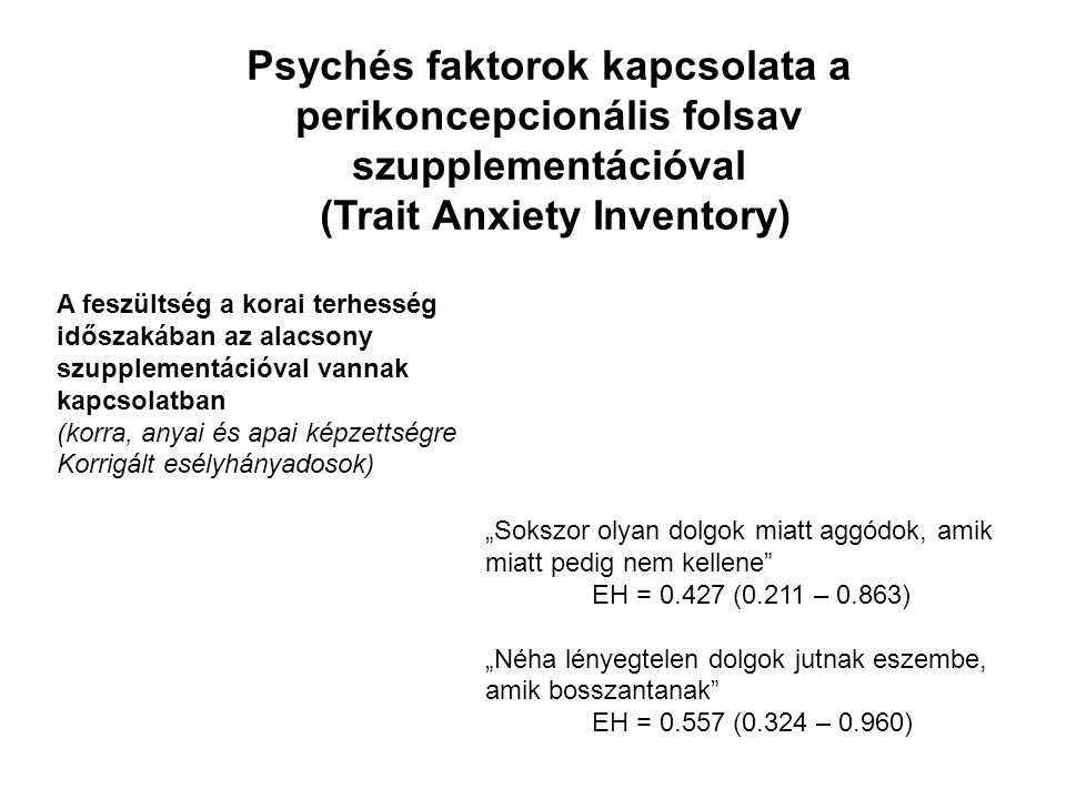 """Psychés faktorok kapcsolata a perikoncepcionális folsav szupplementációval (Trait Anxiety Inventory) A feszültség a korai terhesség időszakában az alacsony szupplementációval vannak kapcsolatban (korra, anyai és apai képzettségre Korrigált esélyhányadosok) """"Sokszor olyan dolgok miatt aggódok, amik miatt pedig nem kellene EH = 0.427 (0.211 – 0.863) """"Néha lényegtelen dolgok jutnak eszembe, amik bosszantanak EH = 0.557 (0.324 – 0.960)"""
