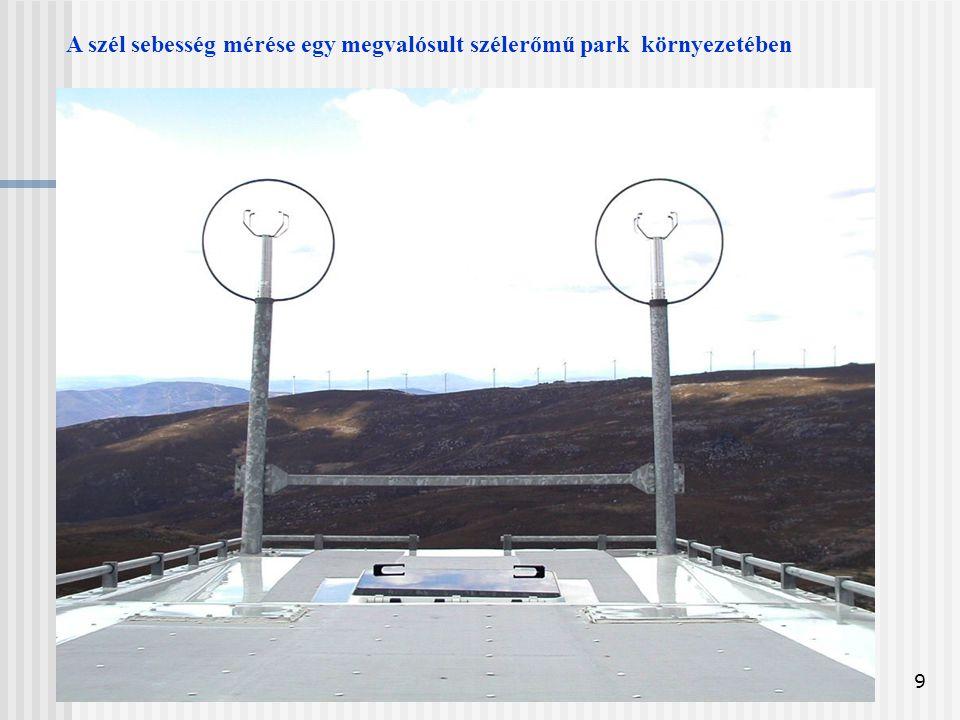 9 A szél sebesség mérése egy megvalósult szélerőmű park környezetében