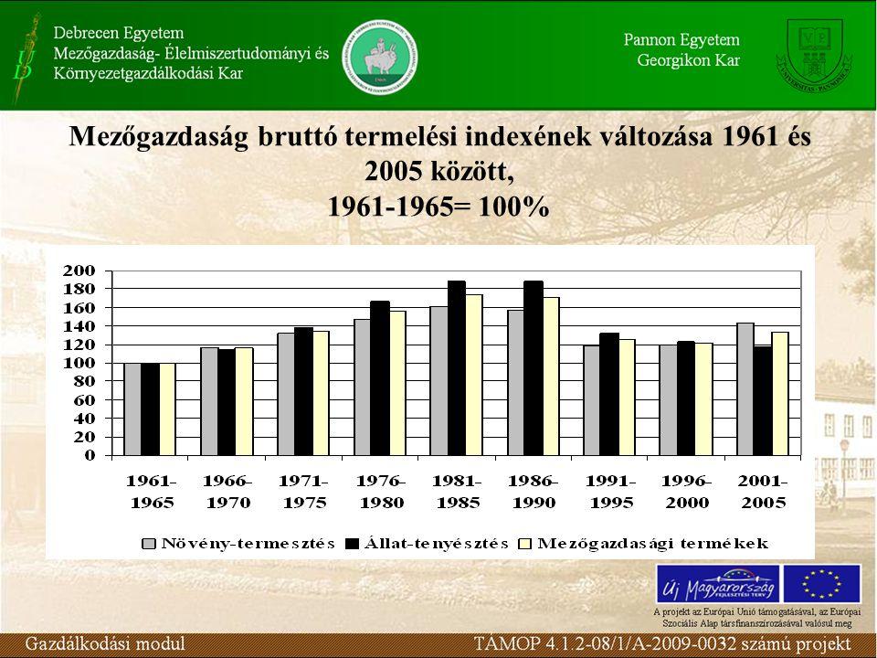 Mezőgazdaság bruttó termelési indexének változása 1961 és 2005 között, 1961-1965= 100%