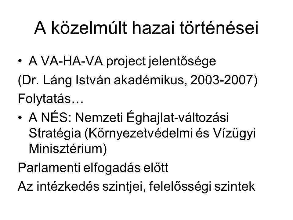 A közelmúlt hazai történései A VA-HA-VA project jelentősége (Dr.
