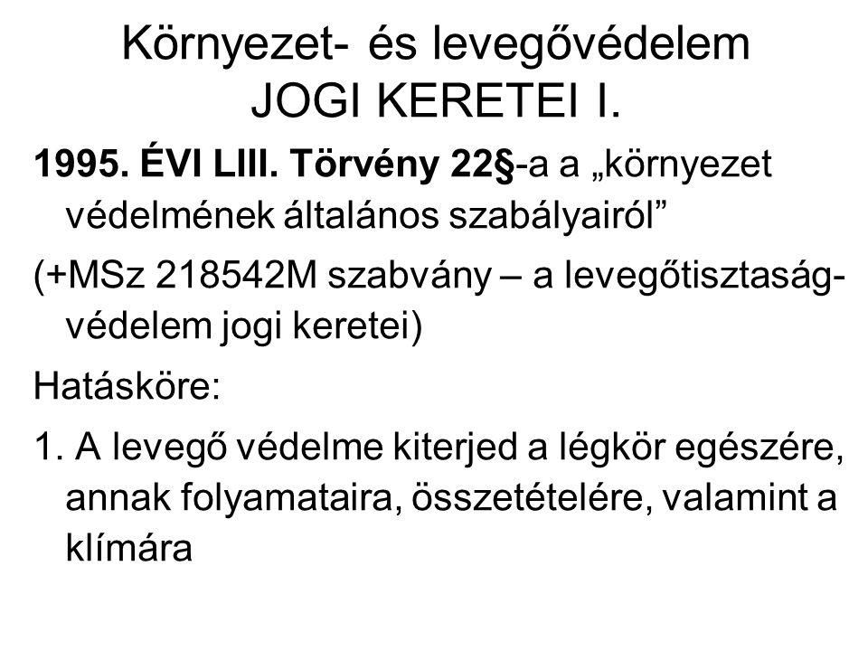 Környezet- és levegővédelem JOGI KERETEI I. 1995.