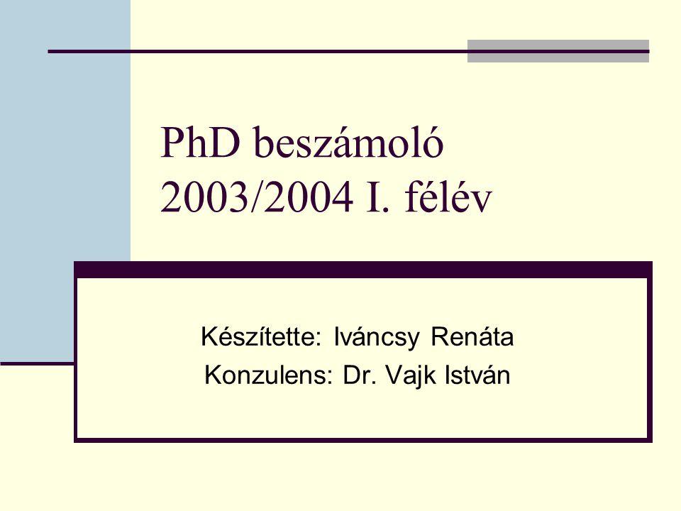 PhD beszámoló 2003/2004 I. félév Készítette: Iváncsy Renáta Konzulens: Dr. Vajk István