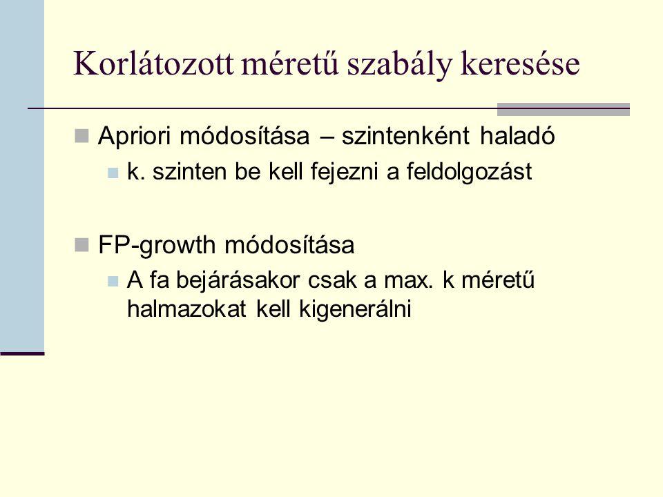 Korlátozott méretű szabály keresése Apriori módosítása – szintenként haladó k.